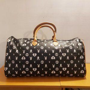 Playboy Bunny Monogram Duffle Satchel Bag Black